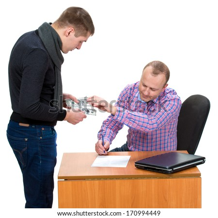 Bribery of a man for signing the necessary documents - stock photo