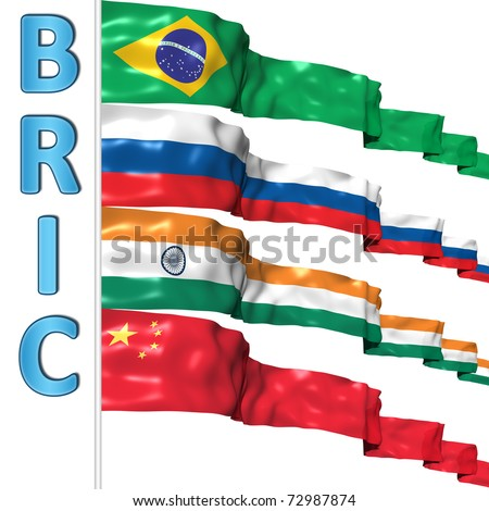 BRIC countries flags - stock photo