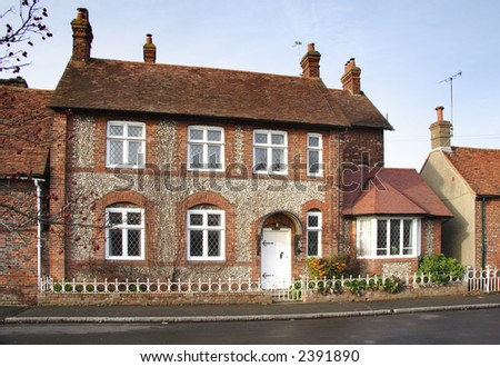 Brick and Flint House on a Village Street in England