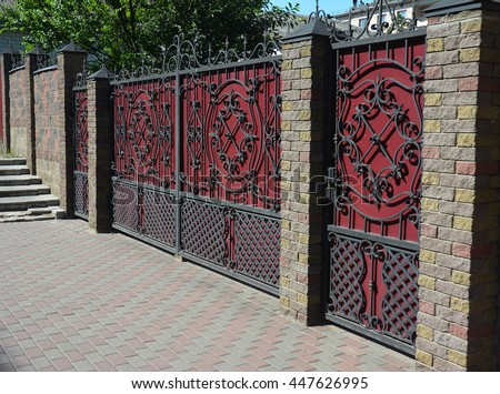 brick and metal fence with door and gate of modern style design decorative cracked brick wall - Brick Wall Fence Designs