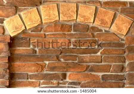 Brick arch, front view. More with keyword Group5. - stock photo
