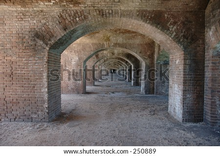 Brick arches at Fort Jefferson National Park in the Dry Tortugas - stock photo