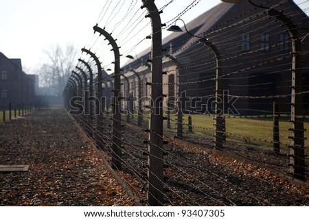 Brick barracks in concentration camp Auschwitz in Oswiecim, Poland - stock photo