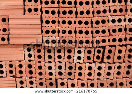 brick block in residential construction site - stock photo