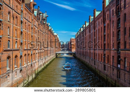 Brick building in Hafencity with blue sky background, Hamburg, Germany