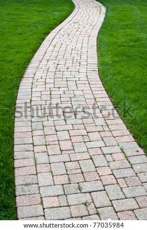 Brick Color Walkway - stock photo