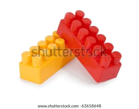 brick constructor toy meccano isolated on white background - stock photo