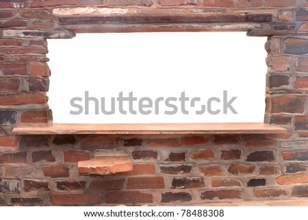 Brick counter and window with white background - stock photo