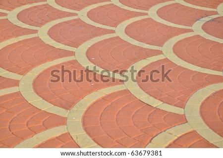 Brick floor tile for Walking path way - stock photo