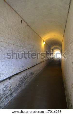 Brick foot tunnel used in World War II