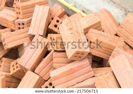 Brick for construction. - stock photo