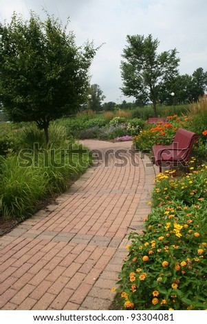 Brick Garden Path - stock photo