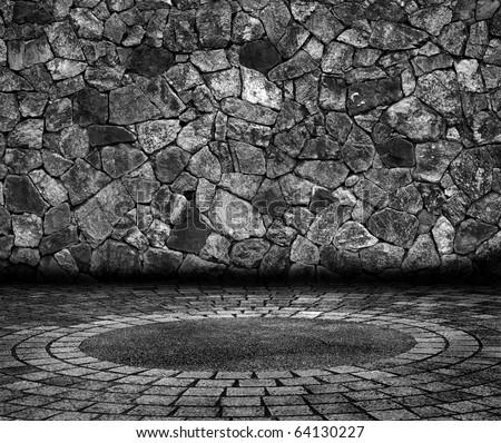 brick grunge room - stock photo