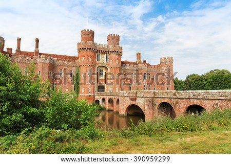 Brick Herstmonceux castle in England (East Sussex) 15th century
