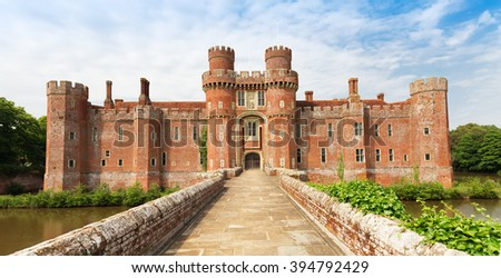 Brick Herstmonceux castle in England (East Sussex) 15th century - stock photo