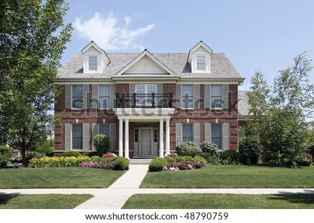 Brick Home Beige Siding Front Balcony Stock Photo 84447094