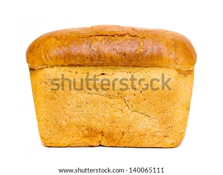 brick loaf of bread isolated on white background - stock photo