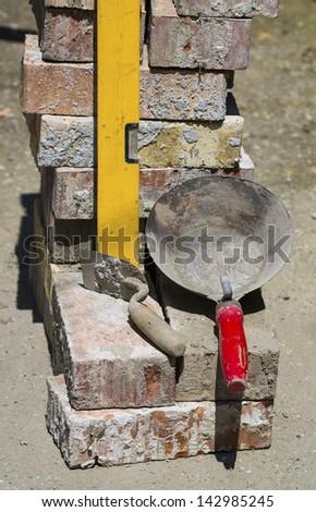 brick masonry tools - stock photo