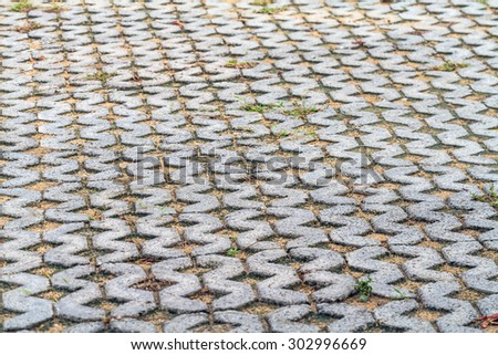 Brick pathway colorful in the park - stock photo