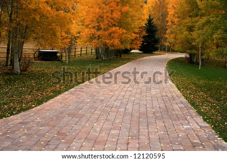 Brick pathway disappearing into autumn,fall in Idaho - stock photo