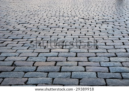Brick pavement in a city - stock photo