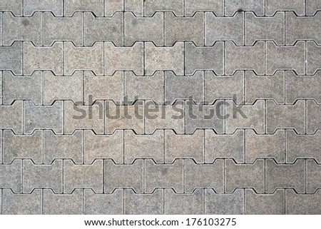 Brick pavement tile, top view. Urban texture as background, top view - stock photo