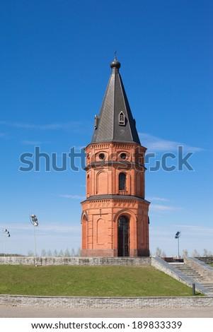 Brick red church in Mogilev in Belarus  - stock photo