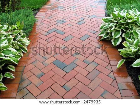 Brick Sidewalk - Geometric Pattern - stock photo