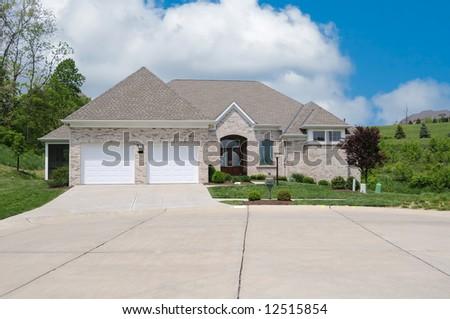 Modern Brick Stone Shakes Two Story Stock Photo 86328580