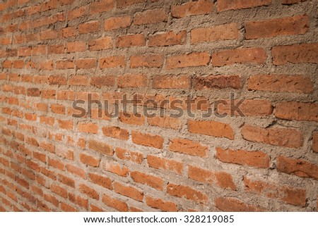 Brick texture and background, perspective view - stock photo