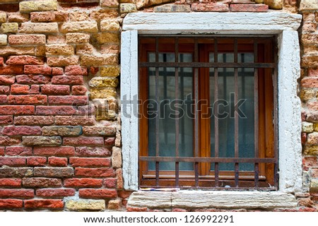 brick texture with a window in the Gothic style