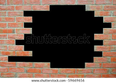 brick texture with black place in the middle - stock photo