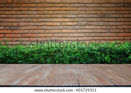 Brick texture with Wood table top - stock photo
