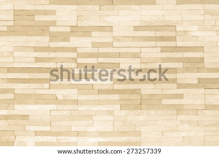 Brick tile wall pattern texture background in yellow cream color tone - stock photo