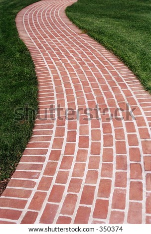 Brick Walk Way - stock photo