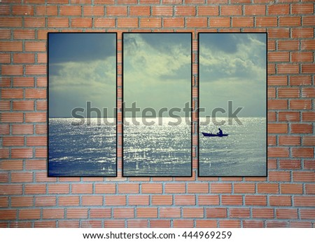 brick wall and collage photo frame - stock photo