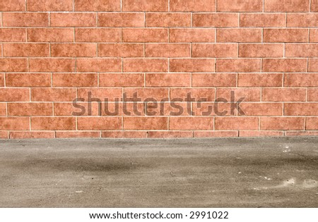 Brick wall and flat ground