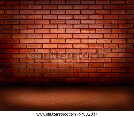 brick wall and floor - stock photo