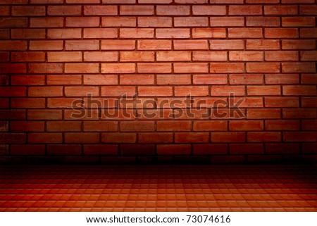 brick wall and floor - stock photo