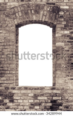 Brick wall and window to the white - stock photo