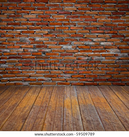 brick wall and wood floor - stock photo