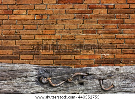 brick wall and wood floor texture interior background.copy space and selective focus - stock photo