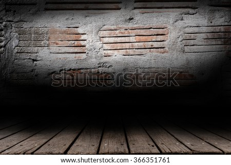 Brick Wall and wood paneled floor backdrop design - stock photo