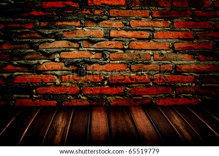 brick wall and wooden floor - stock photo