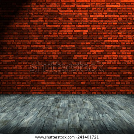 brick wall and wooden floor background - stock photo