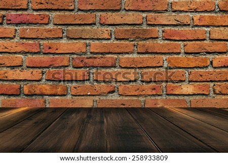 brick wall and wooden floor texture - stock photo