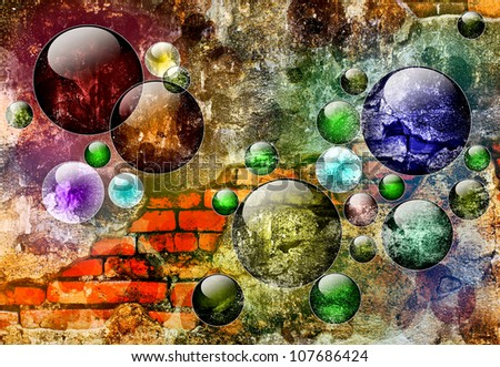 Brick Wall Art brick wall art balls abstract background stock illustration