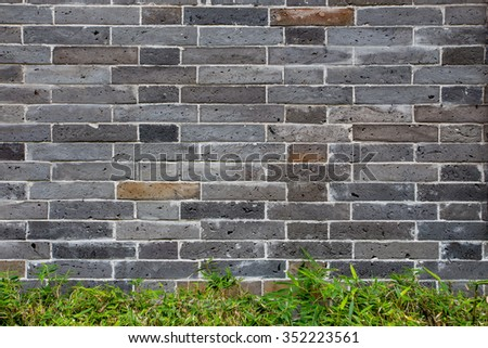 brick wall background and bamboo.