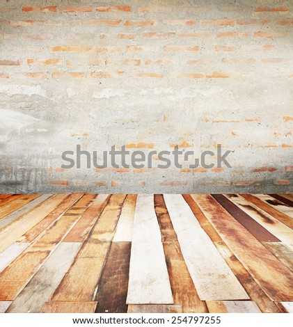 Brick wall background and concrete coat, Plank wood floor, can be used for background. - stock photo