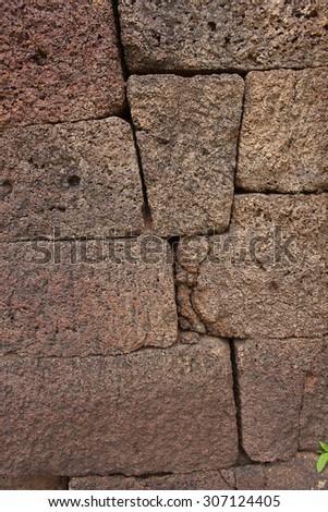 brick wall background at Phimai historical park, Korat, Thailand - stock photo